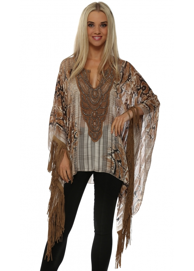 Laurie & Joe Beige Snake Print Tan Tassle Poncho Top