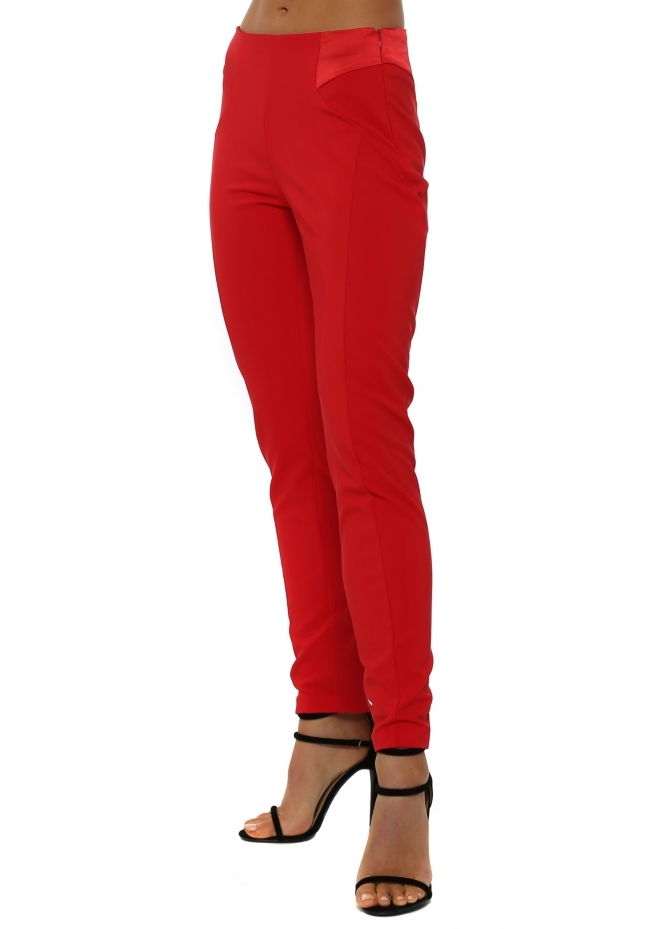 Genese Brooke Red Tailored Stretch Trousers