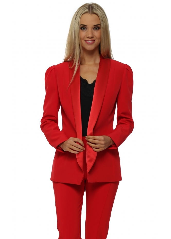 Genese Diaz Tailored Red Tuxedo Style Blazer