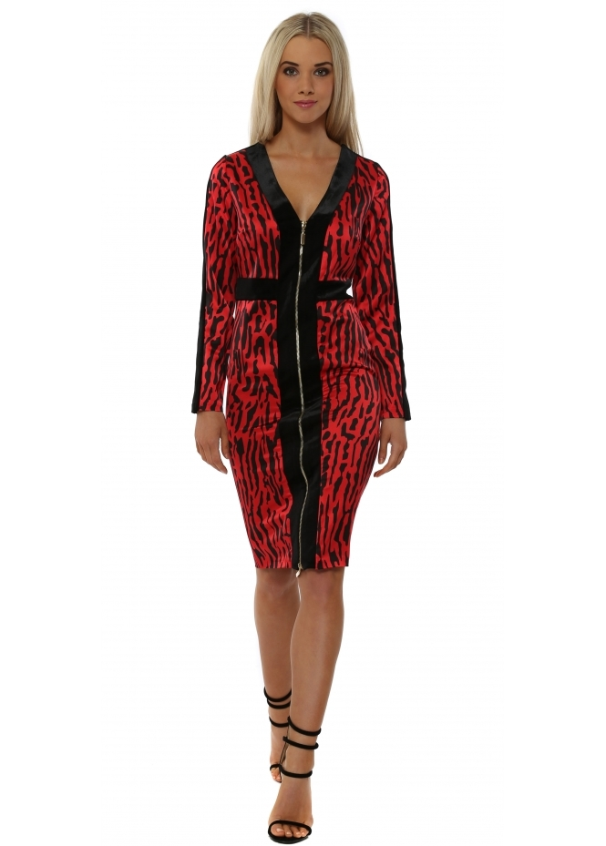Genese Rebecca Red Leopard Panel Midi Dress