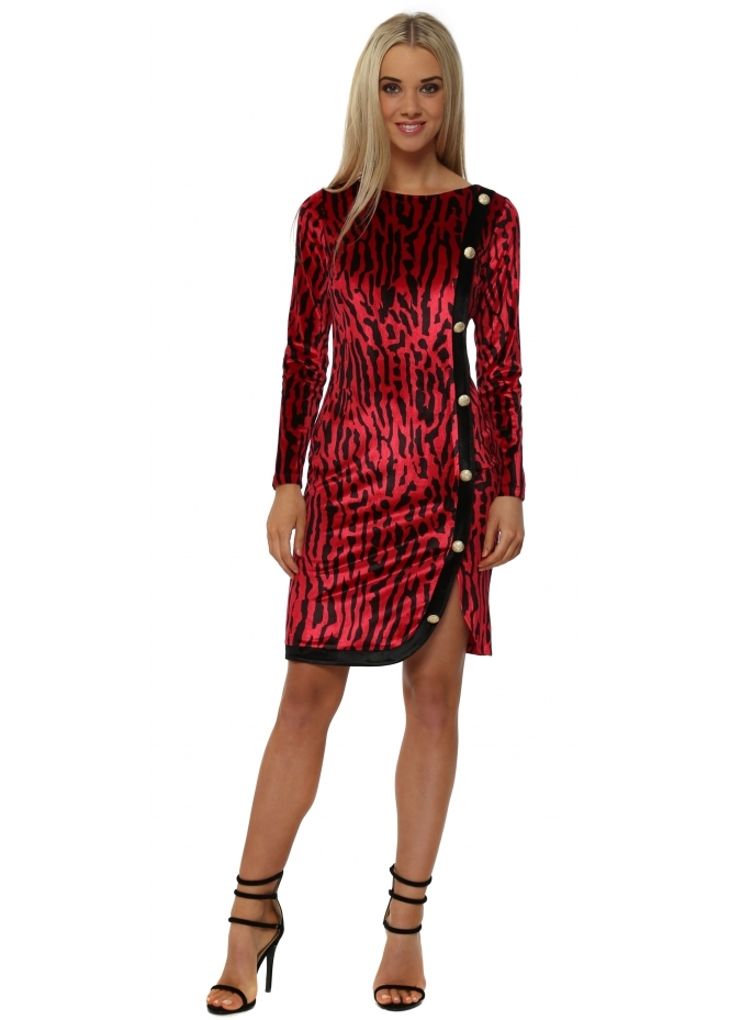 Genese Emma Red Velvet Leopard Print Pencil Dress