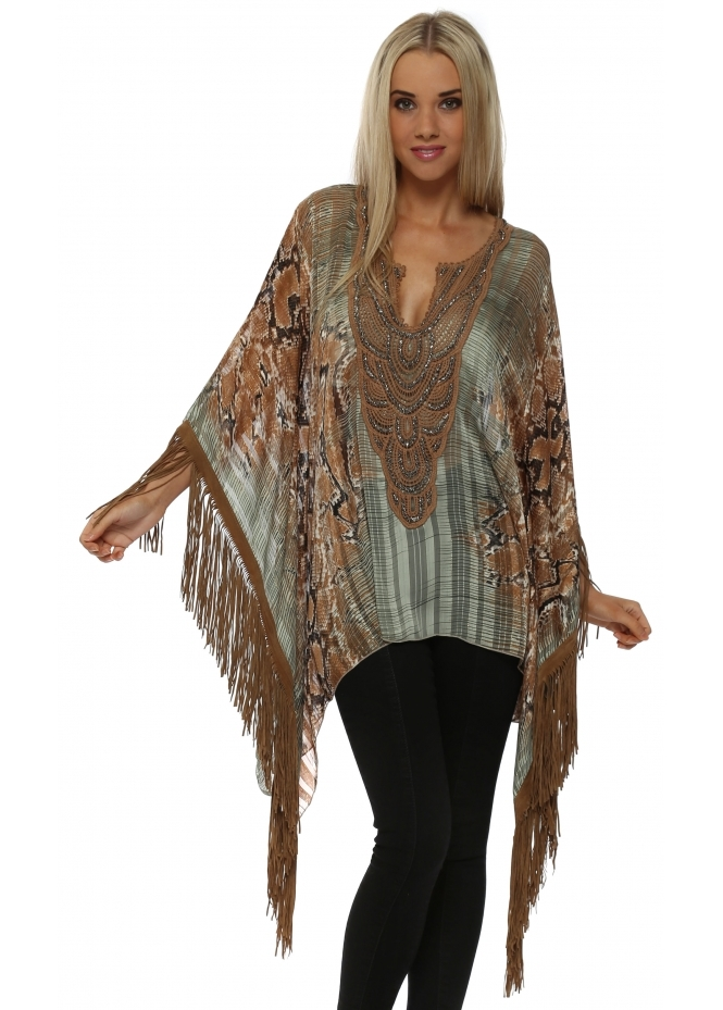 Laurie & Joe Mint Snake Print Tan Tassle Poncho Top