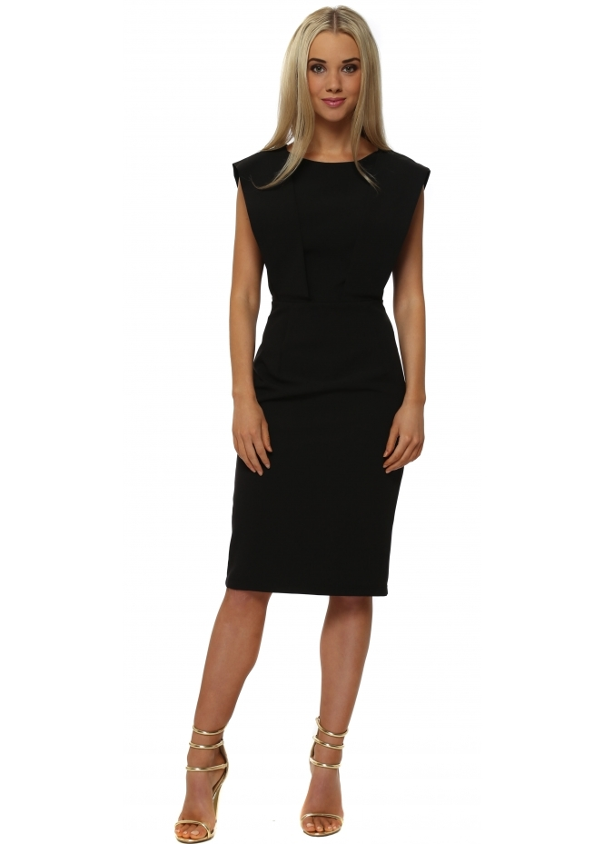 Genese Capri Black Panel Pencil Dress
