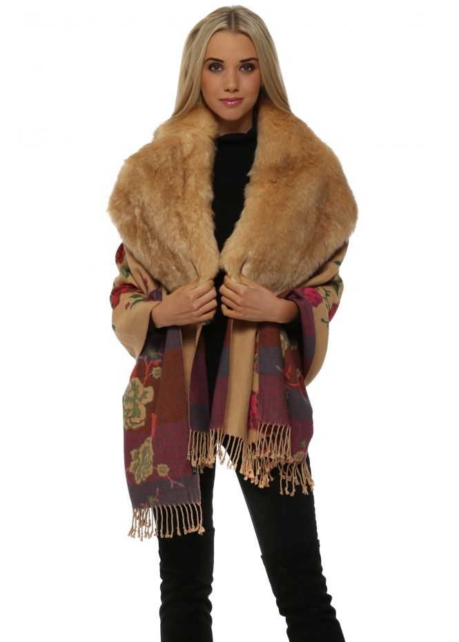 JayLey Caramel Floral Printed Luxe Faux Fur Cape