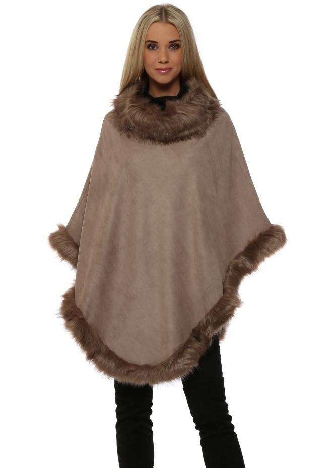 JayLey Mocha Faux Fur Faux Suede Polo Poncho