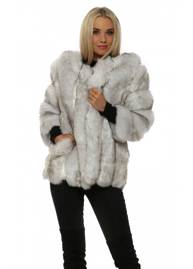 JayLey Winter White Luxe Faux Fox Fur Coat