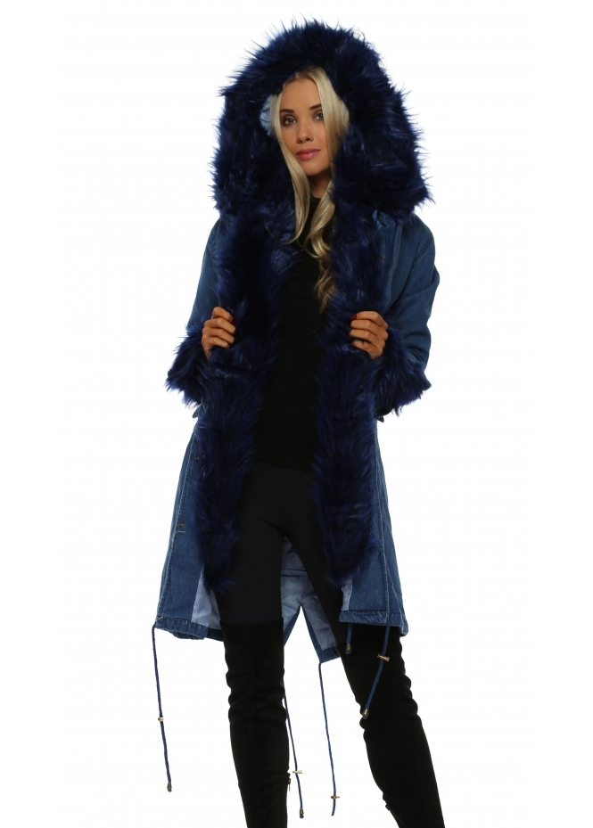 Urban Mist Denim Hooded Parka Lined With Blue Luxe Faux Fur