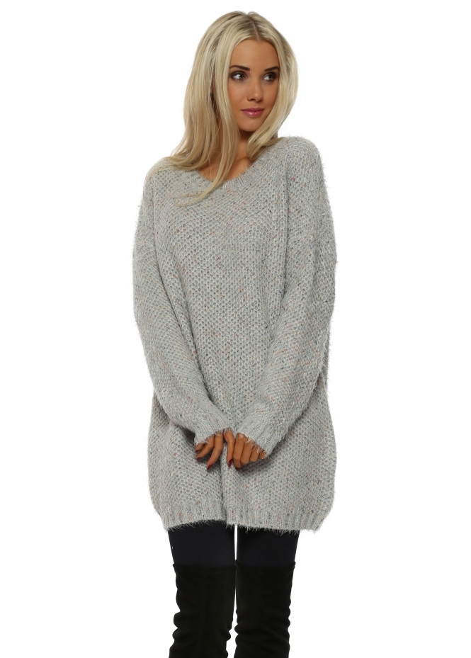 French Boutique Soft Grey Rainbow Knit Boyfriend Jumper