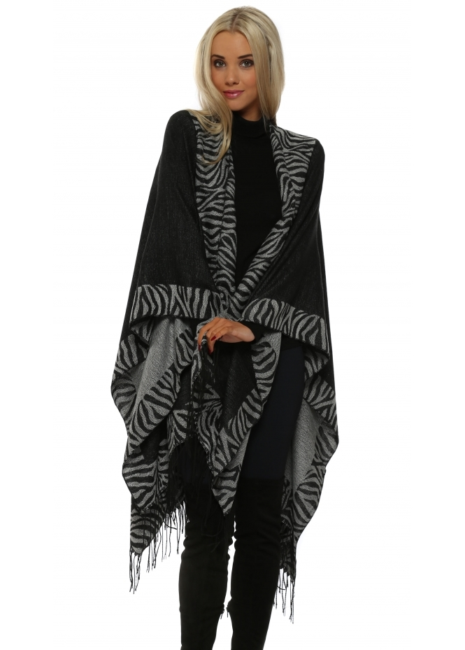 French Boutique Animal Print Black & Grey Large Blanket Cape
