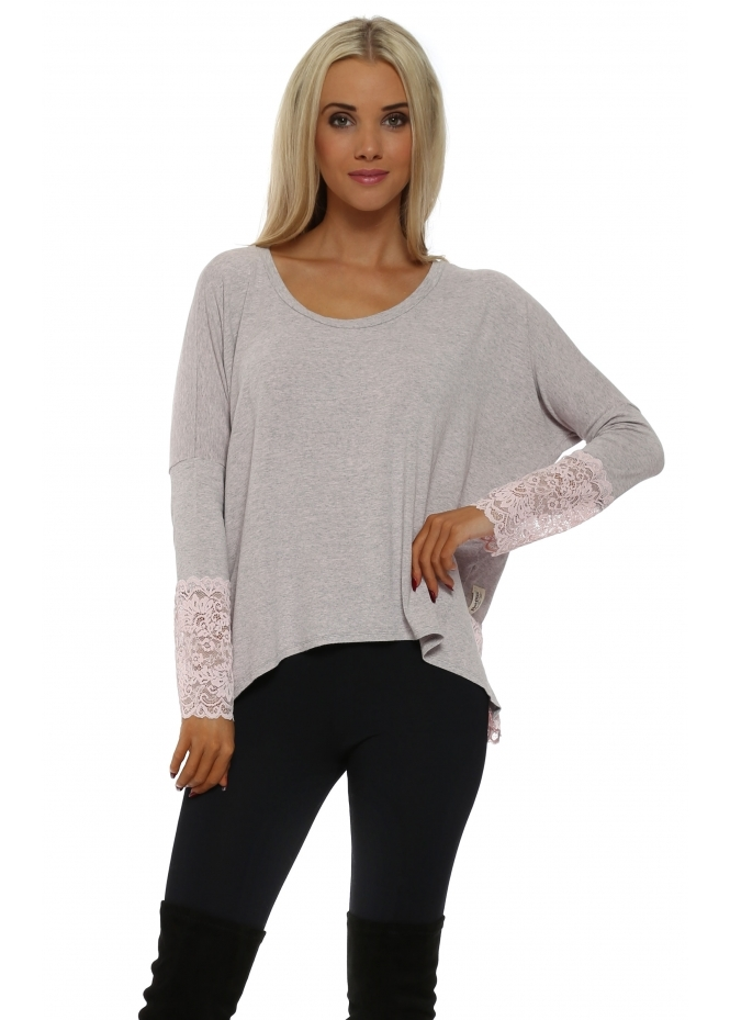 A Postcard From Brighton Eve Buff Melange Enchanted Lace Long Sleeved Top