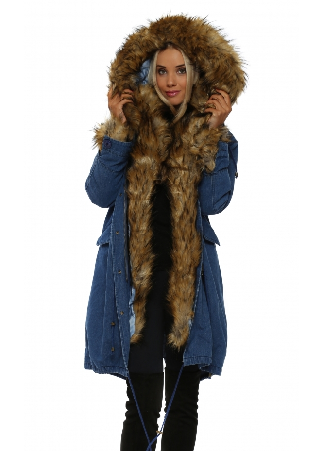 Urban Mist Denim Hooded Parka Lined With Luxe Faux Fox Fur