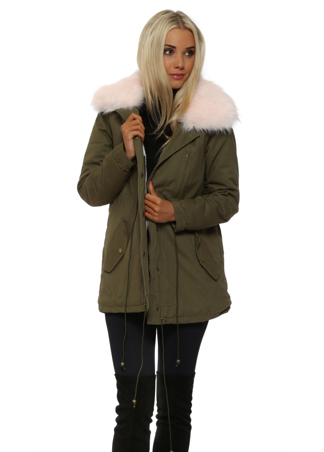 Designer Desirables Pink Fur Collar Khaki Parka Lined With Pink Faux Fur
