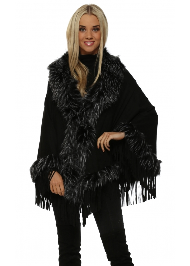 JayLey Black Suedette Fringe Cape With Faux Fur Collar