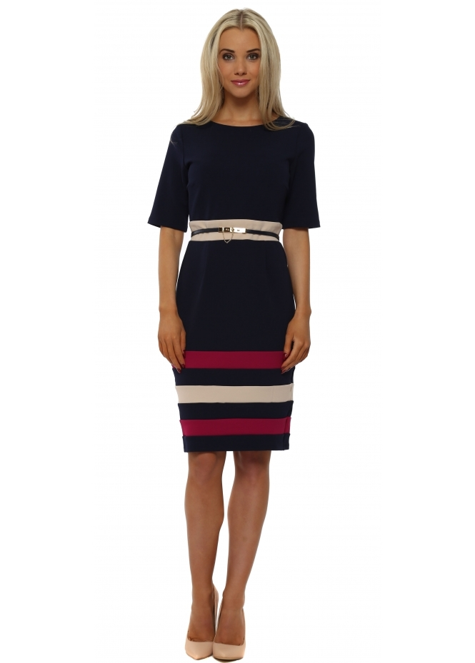 Paper Dolls Navy & Pink Colour Block Stripe Pencil Dress