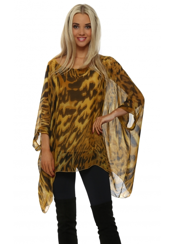 Made In Italy Amber Leopard Print Silk Loose Fit Top