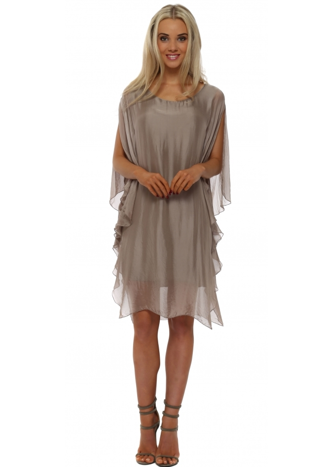 Made In Italy Taupe Silk Waterfall Tunic Dress