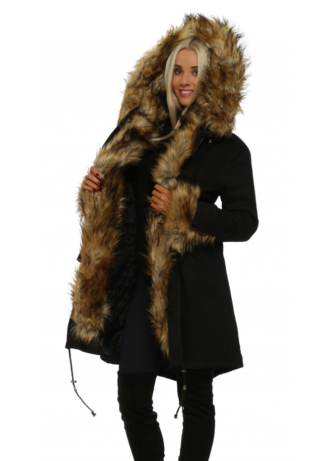 Urban Mist Black Hooded Parka Lined With Tonal Luxe Faux Fur