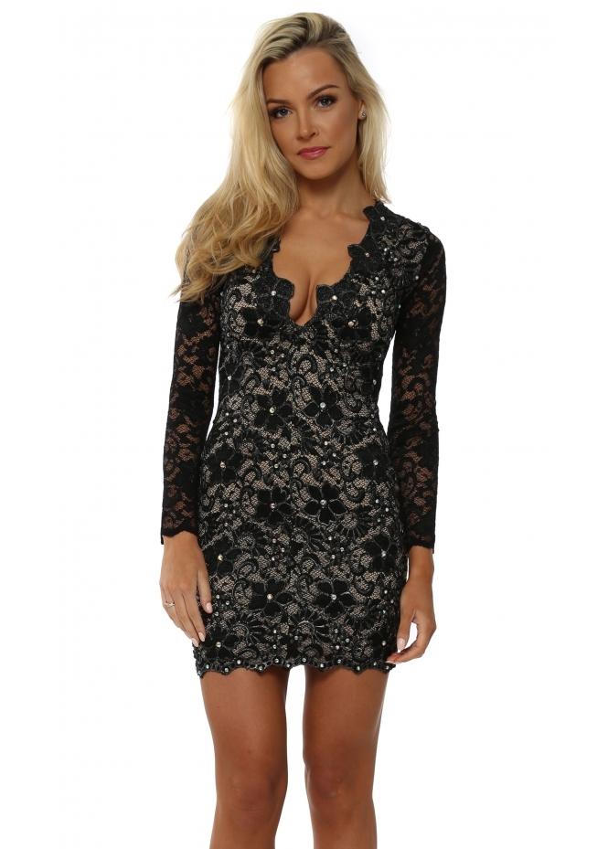 Holt Eli Black Painted Lace Party Dress