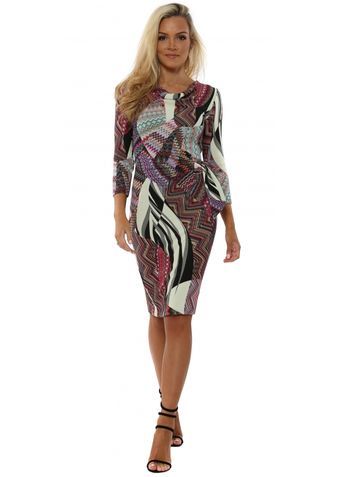 Rinascimento Fucshia Patterned Tie Side Pencil Dress