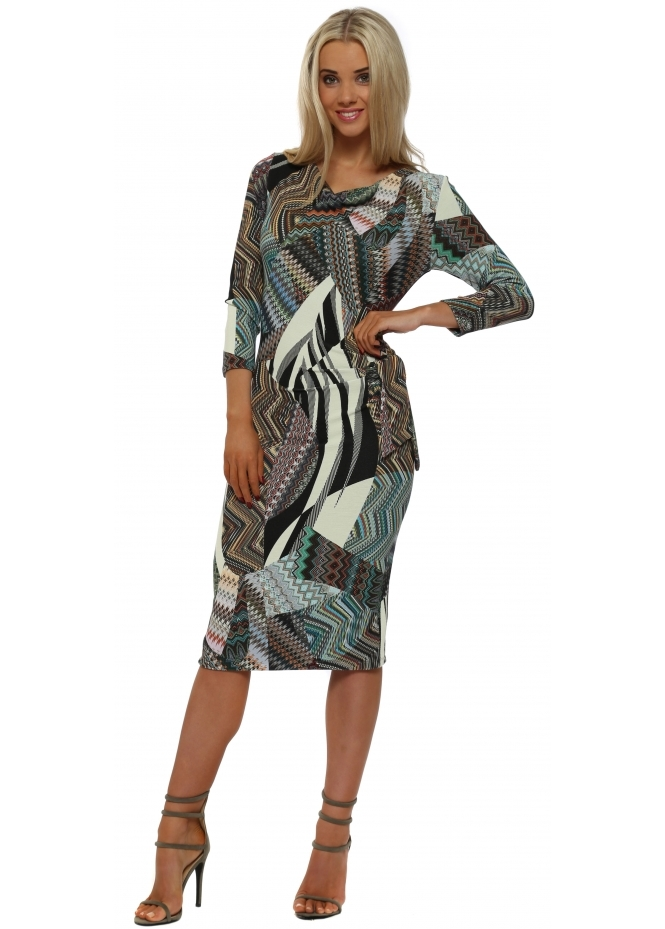 Rinascimento Green Patterned Tie Side Pencil Dress