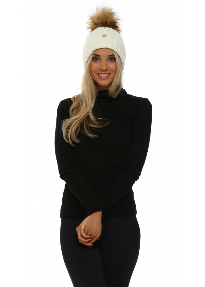My Sisters Closet Cream Chunky Knit Detachable Faux Fur Bobble Hat