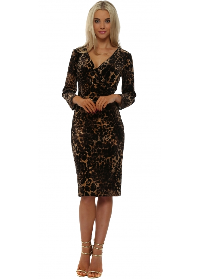 Rinascimento Plush Velvet Leopard Pencil Dress