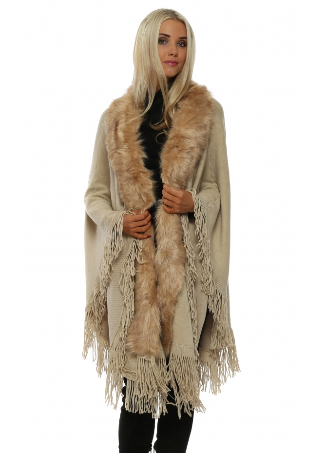 Urban Mist Fringed Caramel Faux Fur Swing Cape