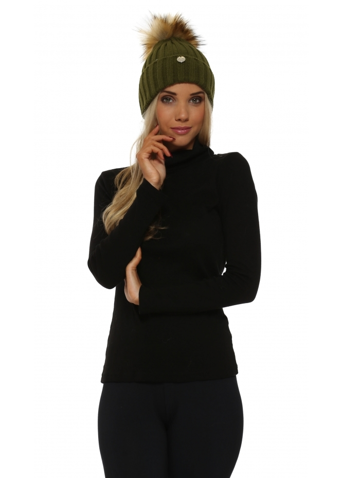 My Sisters Closet Green Chunky Knit Detachable Faux Fur Bobble Hat