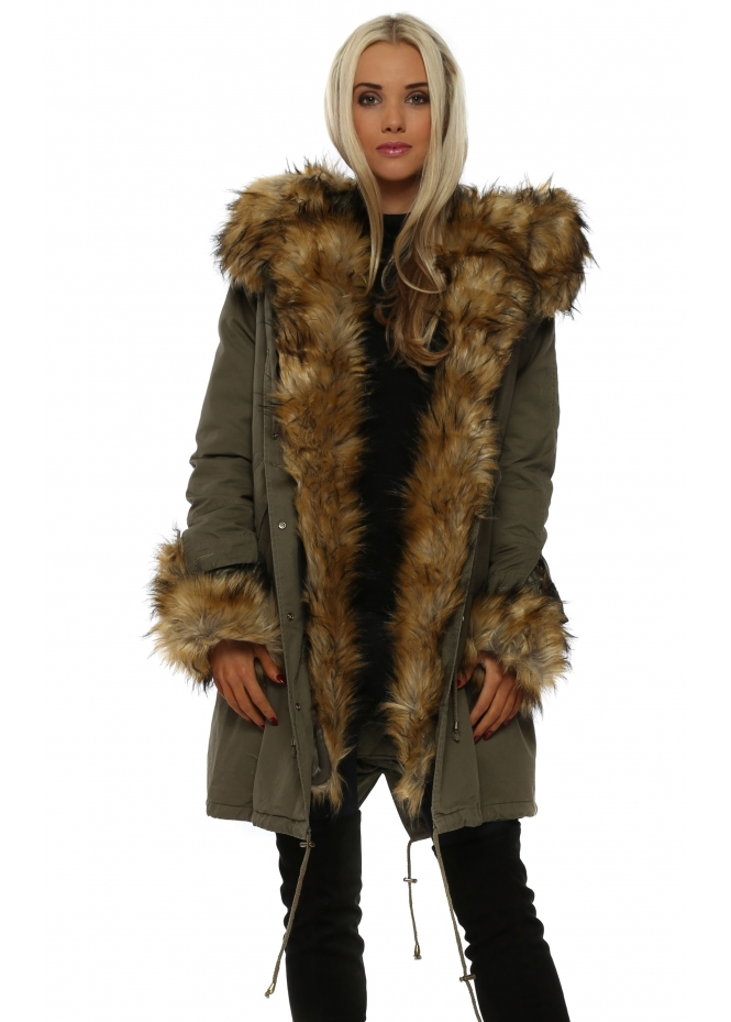 Urban Mist Khaki Hooded Parka Lined With Tonal Luxe Faux Fur
