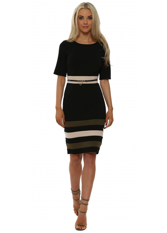 Paper Dolls Black & Green Colour Block Stripe Pencil Dress