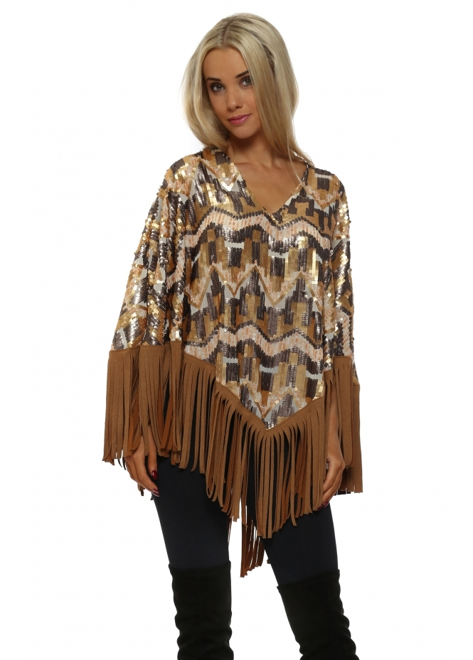 Just M Paris Gold & Pewter Sequinned Tassle Poncho