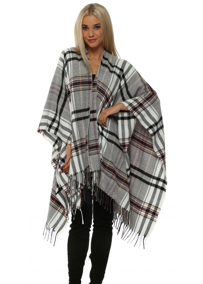 Urban Mist Black & Burgundy Tartan Fringed Oversized Cape