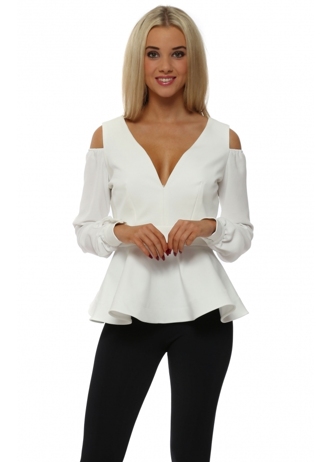 Rebecca Rhoades Alexis Winter White Cold Shoulder Peplum Top