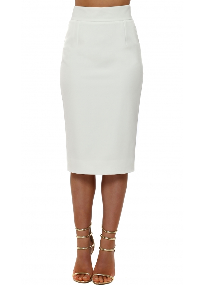 Rebecca Rhoades Piper Winter White Pencil Skirt