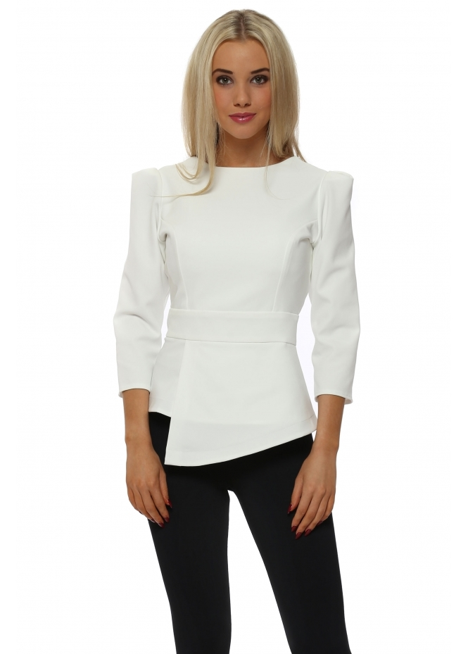 Rebecca Rhoades Faith Winter White Asymmetric Top
