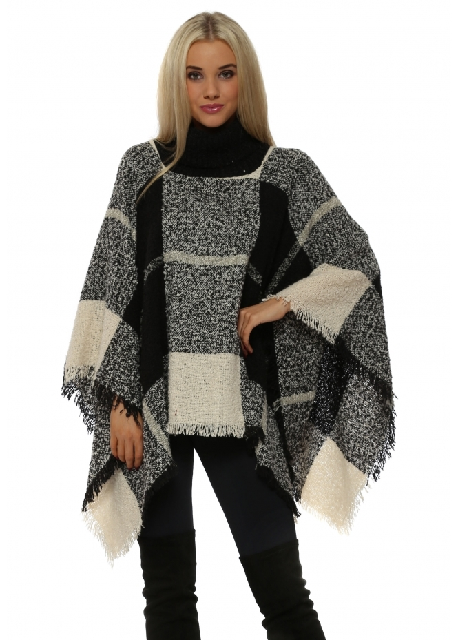 Urban Mist Black Check Print Polo Poncho