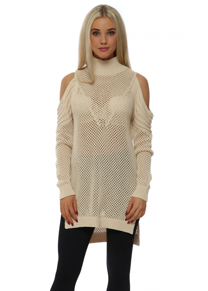 French Boutique Beige Polo Neck Cold Shoulder Hole Knit Jumper