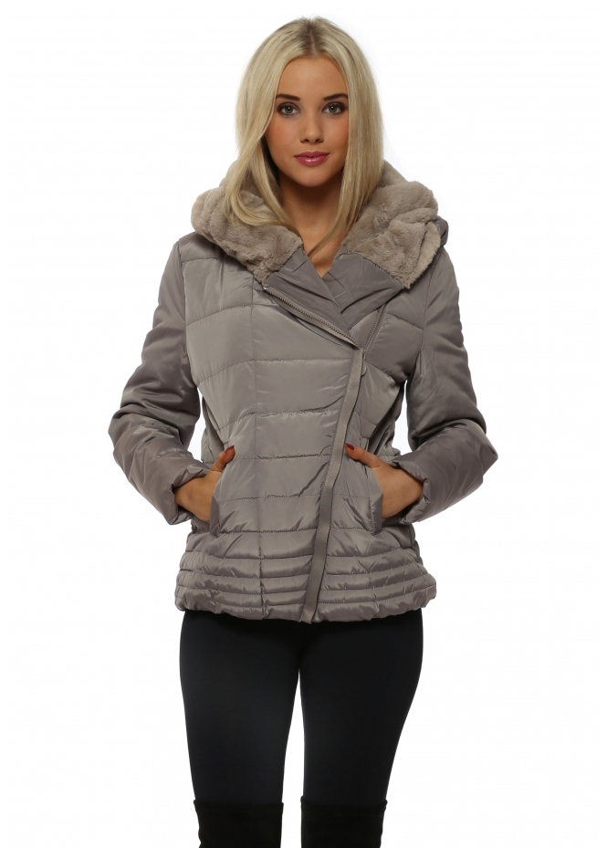 French Boutique Grey Faux Fur Hooded Quilted Jacket