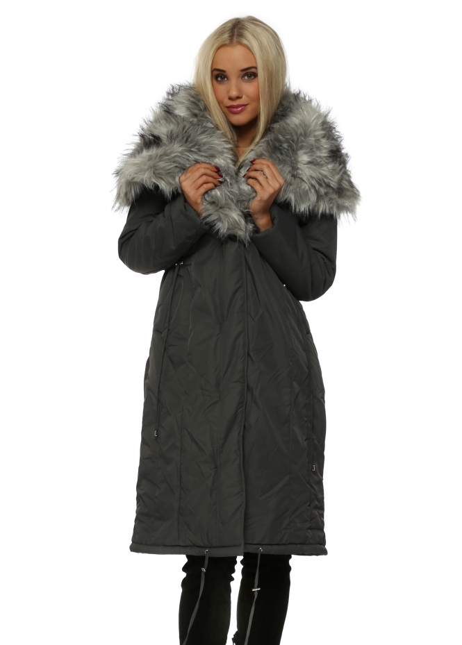 Urban Mist Grey Quilted Coat With Oversized Luxe Faux Fur Collar