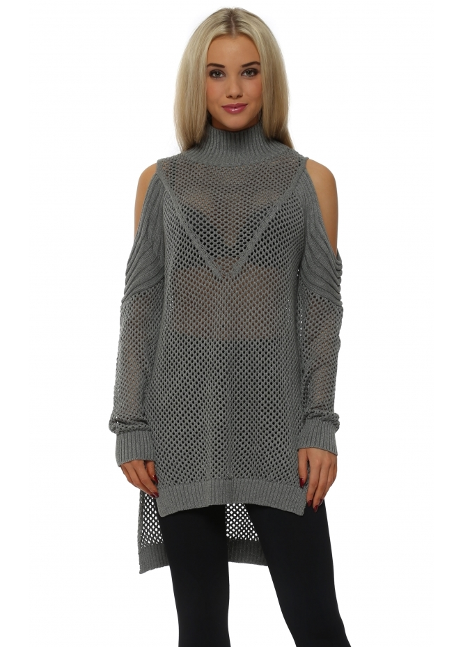 French Boutique Grey Polo Neck Cold Shoulder Hole Knit Jumper