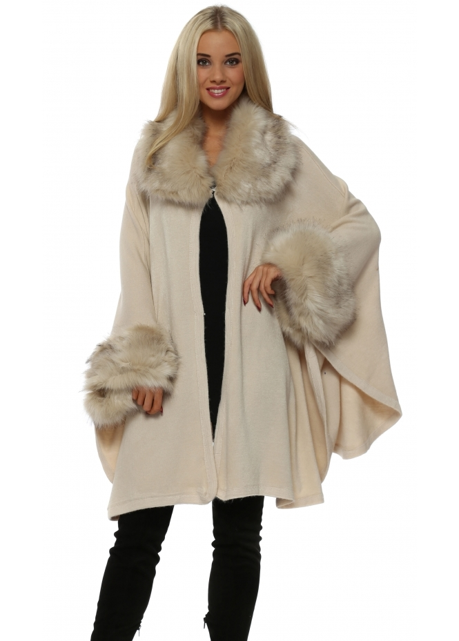 Urban Mist Cream Soft Faux Fur Knitted Swing Cape