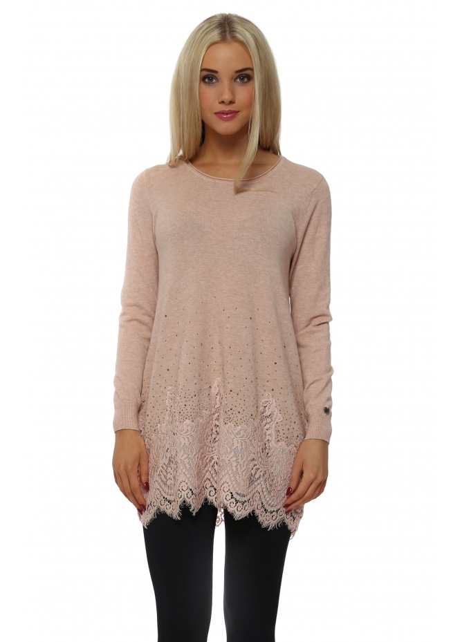 Made In Italy Pink Studded Lace Hem Tunic Jumper
