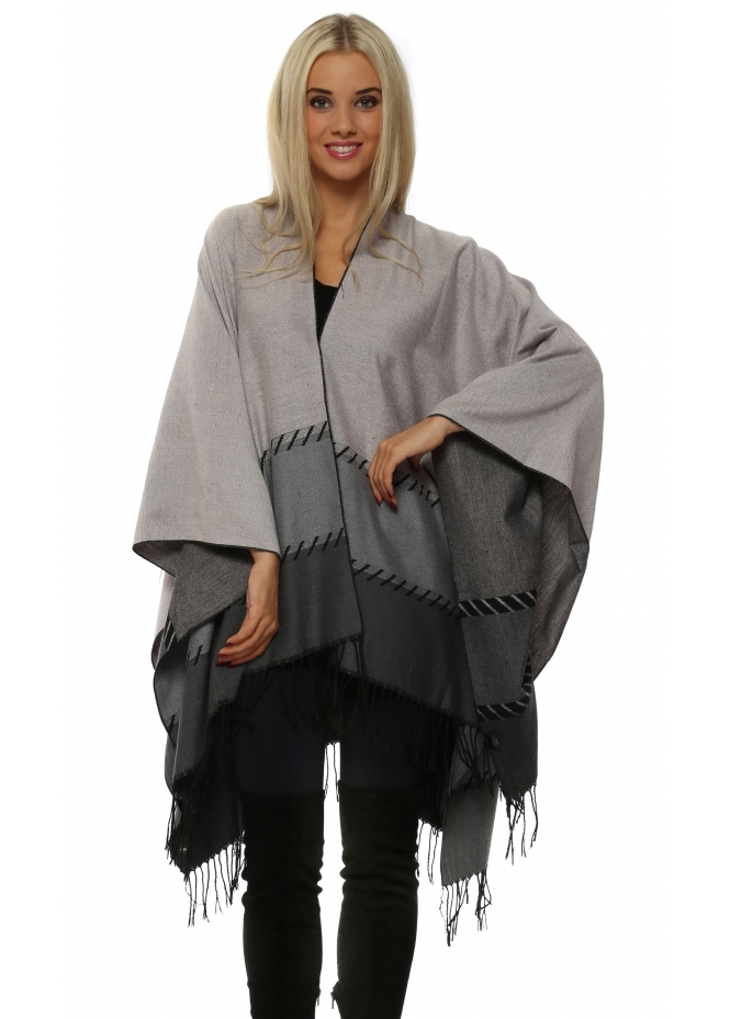 French Boutique Pink & Grey Colour Block Large Blanket Cape