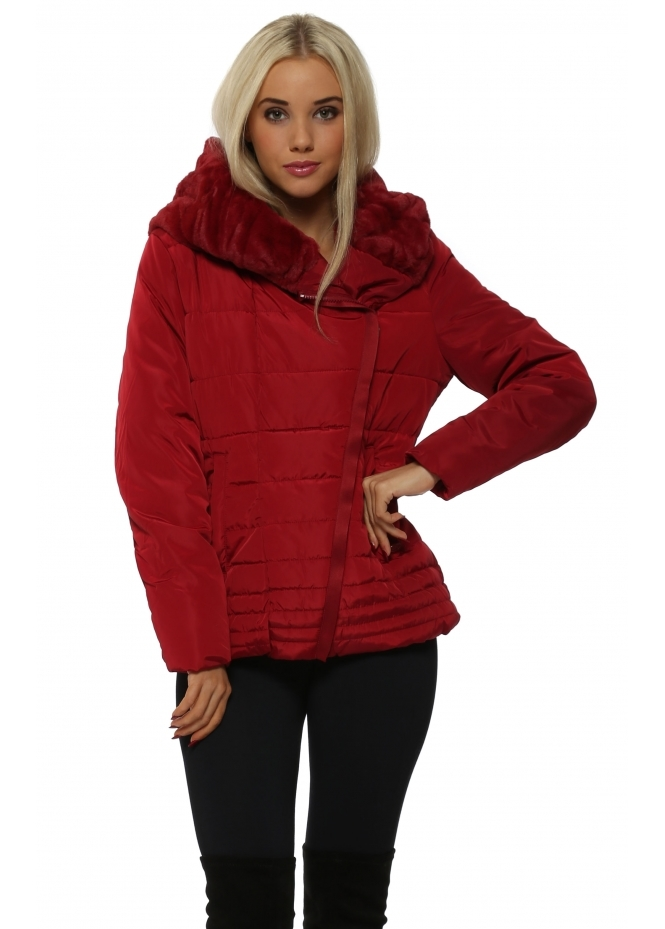 French Boutique Burgundy Faux Fur Hooded Quilted Jacket