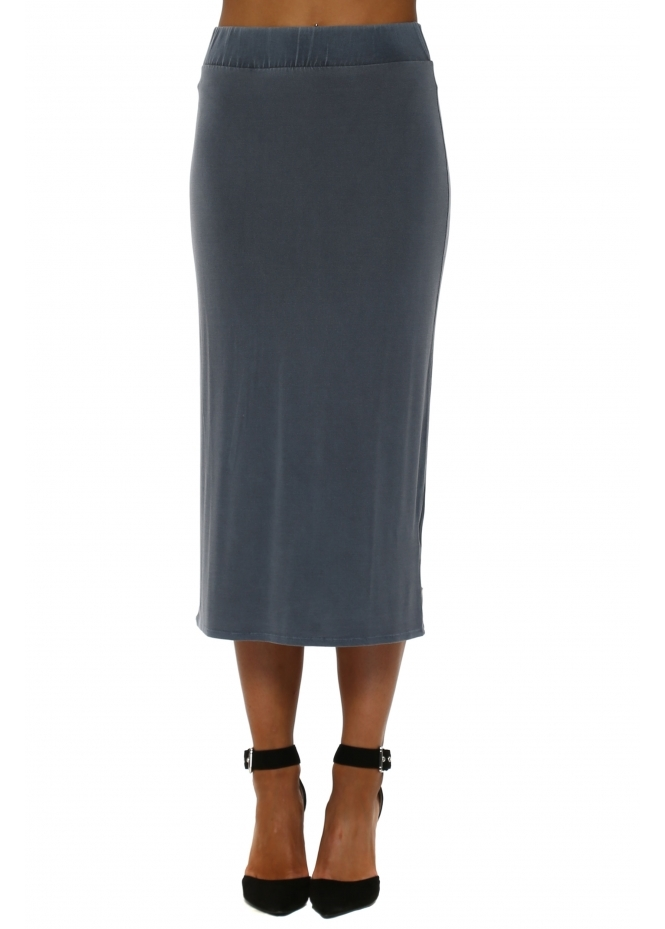 A Postcard From Brighton Wet Slate Jersey Midi Skirt