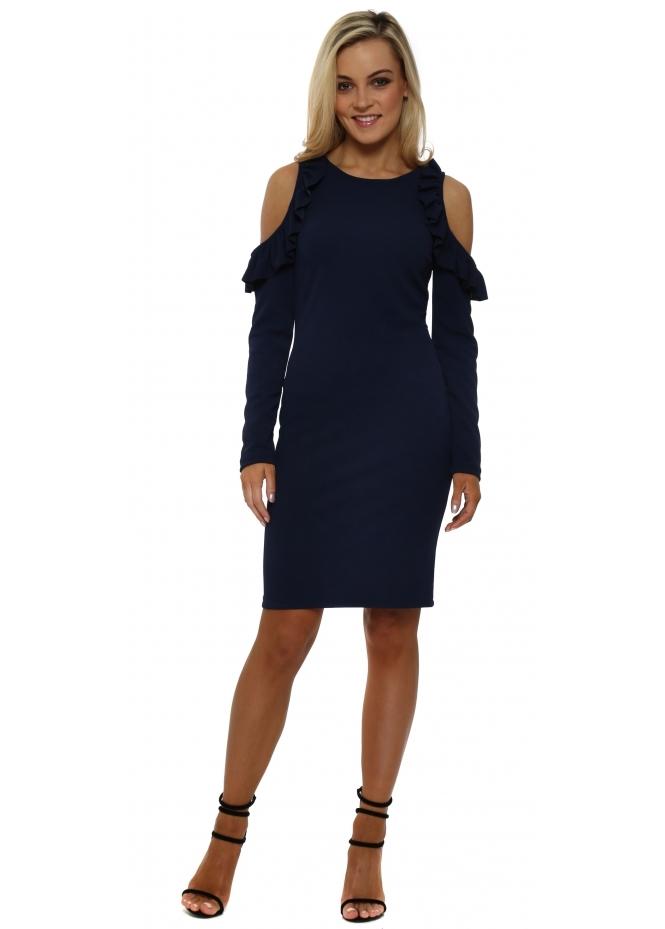 Rinascimento Navy Cold Shoulder Frill Pencil Dress