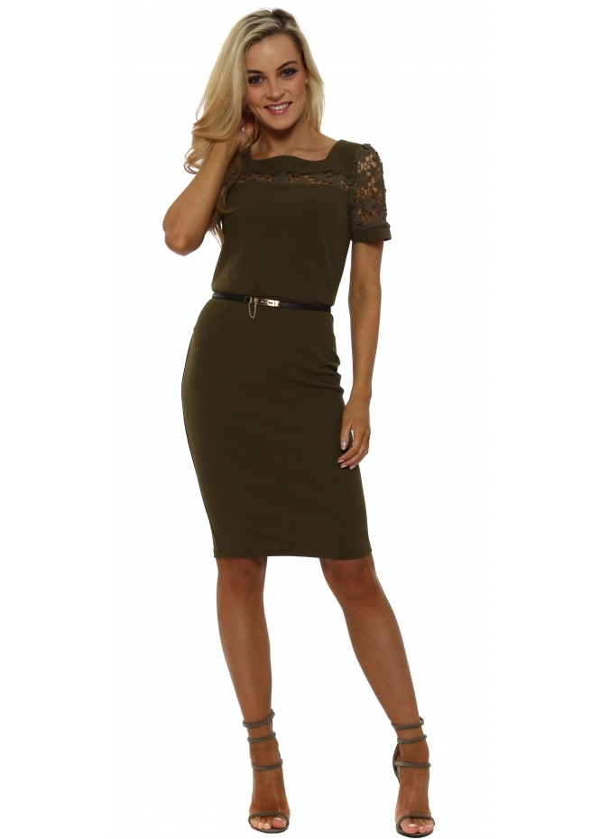 Paper Dolls Khaki Crochet Panel Belted Pencil Dress