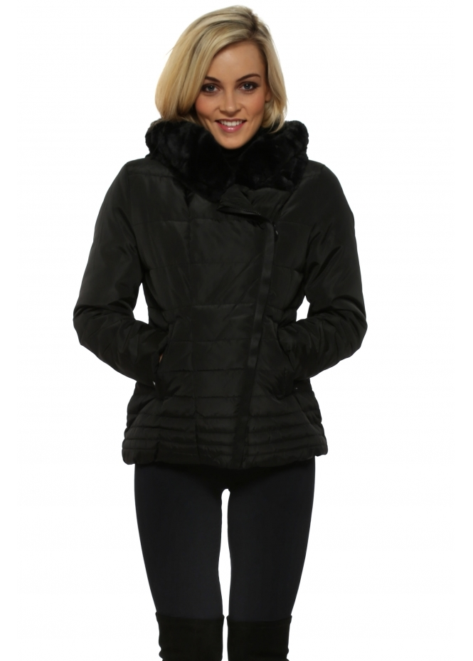 French Boutique Black Faux Fur Hooded Quilted Jacket