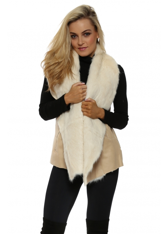 Urban Mist Cream Faux Fur Shearling Zip Detail Gilet