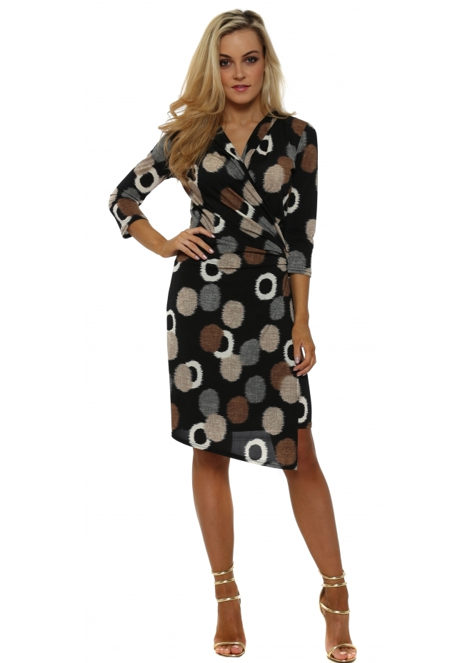 Lonkel Black Circle Print Long Sleeve Wrap Dress